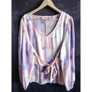 EVRI Pink Blue White Tie Dye Belted Tie Blouse 1X